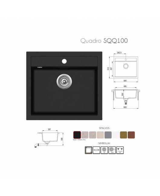 Chiuveta de bucatarie Quadro SQQ100-220AW - argent