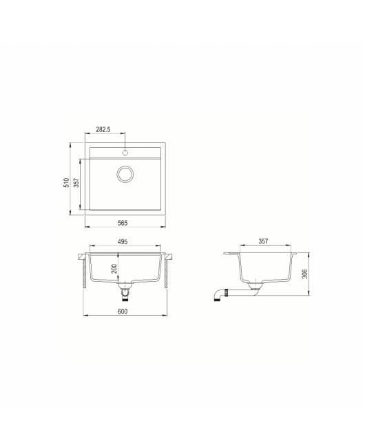 Chiuveta de bucatarie Quadro SQQ100-202AW - alumetalic