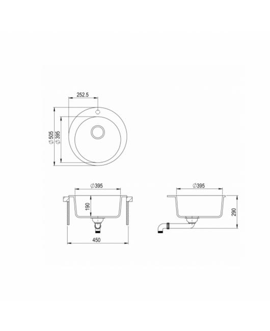 Chiuveta de bucatarie Clarus SR100-601AW - negru metalic